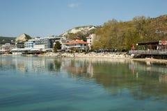 沿海胡同在巴尔奇克,保加利亚 库存图片