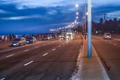 沿海都市场面,蒙得维的亚,乌拉圭 免版税库存照片