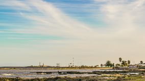 沿海风景场面,蒙得维的亚,乌拉圭 免版税库存图片