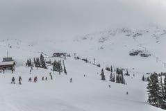 沿着走吹口哨Blackcomb倾斜的滑雪者和挡雪板  免版税库存图片