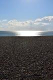 沿英国海岸的日落 免版税库存照片