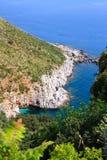 沿西西里人的岸的白色峭壁 库存照片