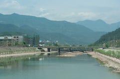沿路的风景在浙江,中国 库存照片