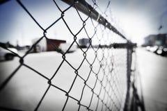 沿边路的链篱芭 免版税库存图片