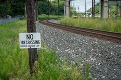 沿铁路的没有Tresspassing标志 库存图片