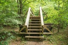 沿阿巴拉契亚足迹的一个新的远足者人行桥 库存图片