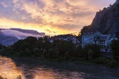 沿隆河的格勒诺布尔建筑学 免版税库存图片