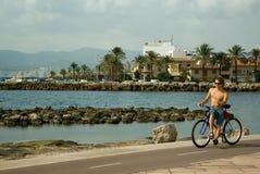 沿骑自行车的人海运年轻人 库存图片