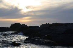沿高速公路1的美好的太平洋日落 库存图片