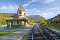 沿登上华盛顿的风景火车乘驾的克劳福德集中处,新罕布什尔 库存照片