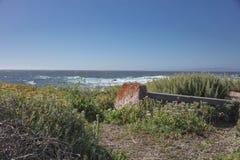 沿17英里推进海岸线加利福尼亚的长凳 库存图片