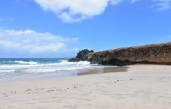 沿Andicuri海滩的虚张声势在阿鲁巴东海岸  库存图片