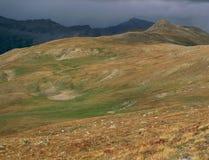 沿Brown& x27的风暴天空; s通过足迹,大学峰顶原野,圣伊莎贝尔国家森林,科罗拉多 图库摄影