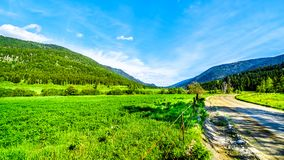 沿Heffley路易斯小河路的山在BC加拿大 免版税库存图片