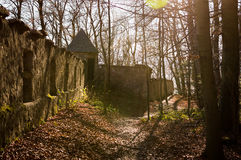 沿Kapuzinerberg,萨尔茨堡的路线 免版税库存图片