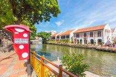 沿Melaka河的硬石餐厅市在马六甲,马来西亚 免版税库存图片