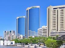 沿The Creek的摩天大楼在迪拜 库存照片