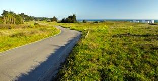 沿Yeu海岛costline的乡下路 免版税库存图片