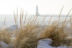法兰克福北防波堤灯塔通过在沙丘的海草 免版税库存图片