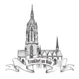 法兰克福地标,德国。旅行象剪影 库存图片