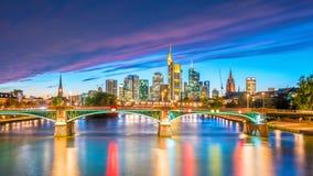 法兰克福市地平线看法在德国 免版税库存照片