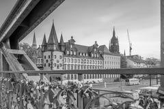 法兰克福市地平线看法在德国 免版税库存图片