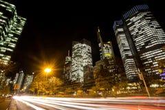 法兰克福德国市光在晚上 免版税库存照片