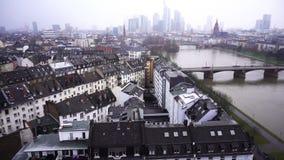 法兰克福德国缅因河和企业塔在斯诺伊天 影视素材
