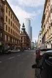 法兰克福有它的摩天大楼的银行业务区 免版税图库摄影