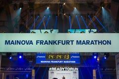 法兰克福,德国- 2017年10月28日:计数下来对Th的时钟 库存照片