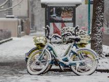 法兰克福,德国- 12月03 :由自行车出租公司Byke的自行车在2017年12月03日的雪在法兰克福 免版税图库摄影