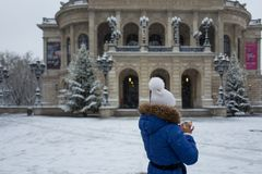 法兰克福,德国- 12月03 :Alte操作老歌剧在2017年12月03日的法兰克福在法兰克福,德国 库存图片