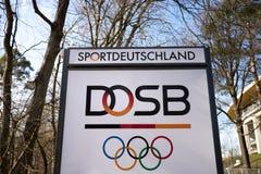 法兰克福,黑森/德国- 22 03 19:dosb签到法兰克福德国 免版税库存照片