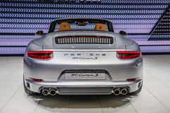 法兰克福- 2015年9月:保时捷911 991 Carrera S cabrio presente 免版税库存图片