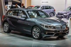 法兰克福- 2015年9月:BMW 118i被提出在IAA国际性组织 库存图片