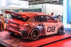 法兰克福- 2015年9月:WRC WTCC被提出的标致汽车308赛跑的杯 库存图片