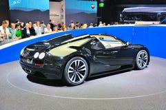 法兰克福- 9月14日:Bugatti Veyron盛大体育LOr Blanc presen 免版税库存照片