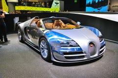 法兰克福- 9月14日:Bugatti Veyron盛大体育LOr Blanc presen 免版税库存图片