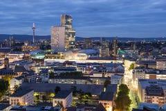法兰克福主要城市在晚上 免版税库存照片
