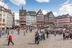 法兰克福主要的Roemerberg广场 免版税库存照片