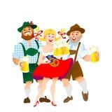 巴法力亚男人和妇女有大杯的啤酒 免版税库存照片