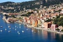 法国、法国海滨、Villefranche/mer、自然港口和城堡 免版税库存照片