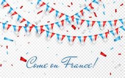 法国下垂与五彩纸屑,法国国庆节庆祝模板横幅的,传染媒介illu吊旗布的诗歌选白色背景 皇族释放例证