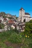 法国中世纪村庄,圣徒Cirq Lapopie 免版税库存图片