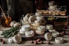 法国乳酪品种在一间多灰尘的餐具室 库存图片
