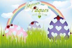 法国人与彩虹、鸡蛋在绿草和瓢虫的复活节卡片 库存照片