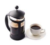 法国人新闻咖啡罐构成 免版税图库摄影