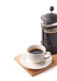 法国人新闻罐和咖啡 免版税库存照片