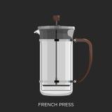 法国人新闻,咖啡壶 免版税库存照片