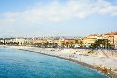 法国人里维拉海滩视图在尼斯 库存照片